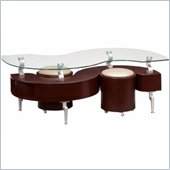 Global Furniture USA Dontai Glass Top Coffee Table in Mahogany Finish