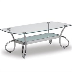 Global Furniture USA 559 Rectangular Glass Coffee Table in Chrome Finish
