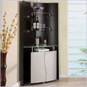 Global Furniture USA Corner Home Bar Unit in Black and Silver