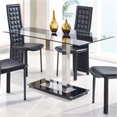 Global Furniture USA Jord Glass Dining Table in Black Stripe