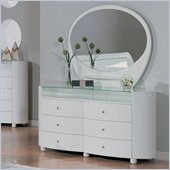 Global Furniture USA Emily 6 Drawer Dresser and Mirror Set in White