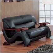 Global Furniture USA 2033 Love Seat in Black Leather Match