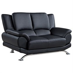 Global Furniture USA 9908 Leather Loveseat in Black
