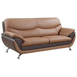 Global Furniture USA 2106 Leather Sofa in Light/Dark Brown