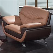 Global Furniture USA 2106 Leather Chair in Light/Dark Brown