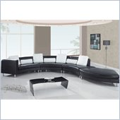 Global Furniture USA 919 4 Piece Sectional in Black with White Pillows