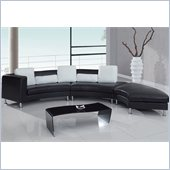 Global Furniture USA 919 3 Piece Sectional in Black with White Pillows