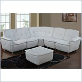 Global Furniture USA 5 Piece Leather/Leather Match Sectional in White