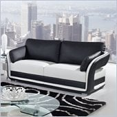 Global Furniture USA A189 Bonded Leather Sofa in Black/White