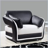 Global Furniture USA A189 Bonded Leather Chair in Black/White