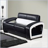 Global Furniture USA A199 Ultra Bonded Leather Loveseat in Black/White