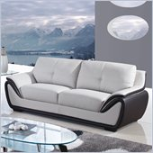 Global Furniture USA 3250 Bonded Leather Sofa in Grey/Black