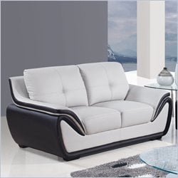 Global Furniture USA Leather Loveseat in Gray and Black