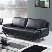Global Furniture USA 4030 Leather Sofa in Black