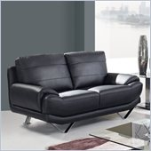 Global Furniture USA 4030 Leather Loveseat in Black