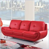 Global Furniture USA 4120 Leather Sofa in Red