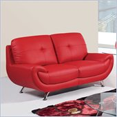 Global Furniture USA 4120 Leather Loveseat in Red