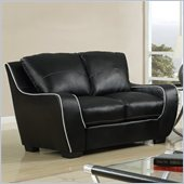 Global Furniture USA 8080 Loveseat in Black with White Welt