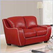 Global Furniture USA 8080 Loveseat in Red with White Welt
