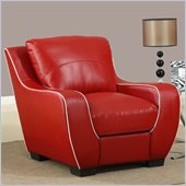 Global Furniture USA 8080 Chair in Red with White Welt