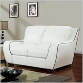 Global Furniture USA 8080 Loveseat in White with Black Welt