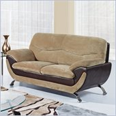 Global Furniture USA 4160 Loveseat in Champion Froth/Chocolate Leather
