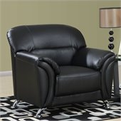 Global Furniture USA 9103 PVC Chair in Black/Chrome Legs