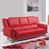 Global Furniture USA 9908 Sofa in Red With Chrome Legs