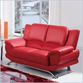 Global Furniture USA 9908 Loveseat in Red With Chrome Legs