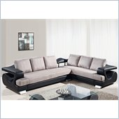 Global Furniture USA 7208 2 Piece Sectional in Grey Fabric / Black PU