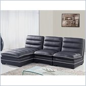 Global Furniture USA 4150 3 Piece Sectional in Black PU
