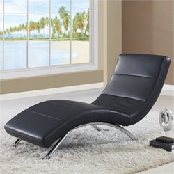 Global Furniture USA Leather Chaise in Black with Chrome Legs