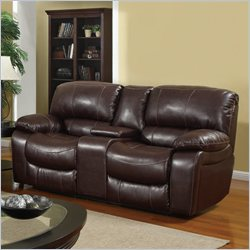 Global Furniture USA Leather Console Reclining Loveseat in Burgundy
