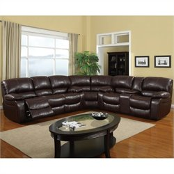 Global Furniture USA Leather Reclining Sectional in Burgundy
