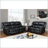 Global Furniture USA 9966 3 Piece Reclining Sofa in Black Leather