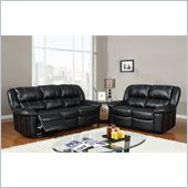 Global Furniture USA 9966 2 Piece Reclining Sofa in Black Leather