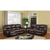 Global Furniture USA 8122 Reclining 2 Piece Sofa Set in Burgundy Leather