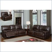 Global Furniture USA 1953 Recliner 3 Piece Sofa Set in Brown Leather