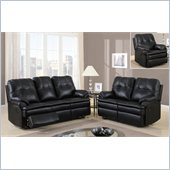 Global Furniture USA 1078 Motion 3 Piece Sofa Set in Black Microfiber