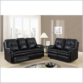 Global Furniture USA 1078 Motion 2 Piece Sofa Set in Black Microfiber