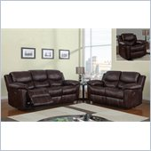 Global Furniture USA 2128 Reclining 3 Piece Sofa Set in Brown Microfiber
