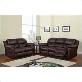 Global Furniture USA 2128 Reclining 2 Piece Sofa Set in Brown Microfiber