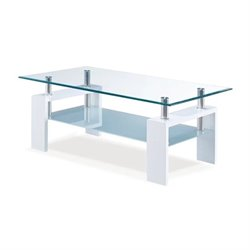 Global Furniture Frosted Glass Coffee Table in Glossy White