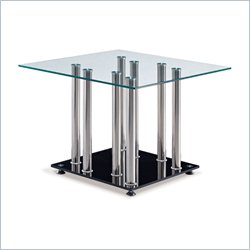 Global Furniture Clear Top End Table with Black Base