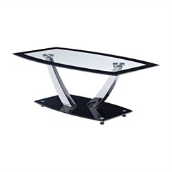 Global Furniture Clear Coffee Table with Black Trim and Base