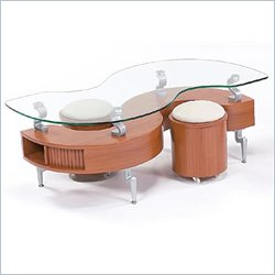 Global Furniture USA Dontai Glass Top Coffee Table in Matte Natural Light Cherry Finish