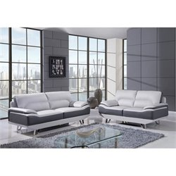 Global Furniture USA Natalie 2 Piece Leather Sofa Set in Gray
