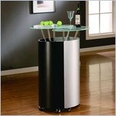 Global Furniture USA Steven Black and Silver Home Bar Cabinet