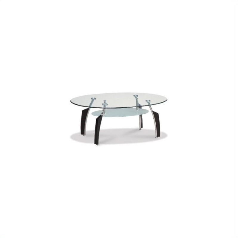 Francis Black Oval Coffee Table with Frosted Glass Top