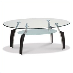 Global Furniture USA Francis Black Oval Coffee Table with Frosted Glass Top